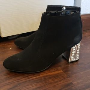 Jeweled Heel Ankle Boots